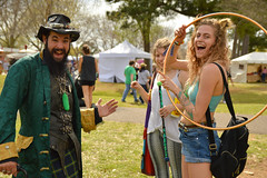 Zander and some of his pickle customers (radargeek) Tags: 2019 april norman normanmedievalfaire2019 medievalfair oklahoma pickleman pickle zander hulahoop leviwand backpack