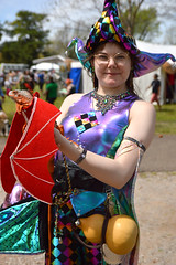 Taking her dragon, Leonarda, out for a walk (radargeek) Tags: 2019 april norman normanmedievalfaire2019 medievalfair oklahoma costume dragon lizard gourd wings iguana