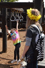 The dead at play (radargeek) Tags: 2019 april norman normanmedievalfaire2019 medievalfair oklahoma child children kid kids skull skeleton mom daughter playground facepaint backpack