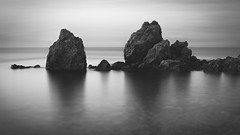 SadFlow_14 (SadFo_x1) Tags: rock sea water aegean greece samos travel nature natureisanartist beach remembrance landscape sunset ocean sky mystery light bw blackandwhite black white camera