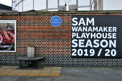 A Bench For Even Smaller Bums (standhisround) Tags: bench benchmonday southbank london wall sign signs seat globetheatre southwark plaque blueplaque samwanamaker playhouse