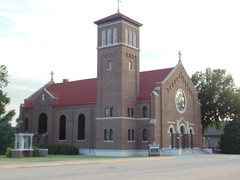 83. A Catholic Church on the west side of town, Fowler, 7-27-19 (leverich1991) Tags: exploring kansas 2019 fowler meade swimming pool jail
