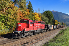 ECO on a ballast train (Moffat Road) Tags: canadianpacific cp ballasttrain ballastextra emd 5003 sd30ceco rebuiltsd402 train railroad locomotive revelstoke britishcolumbia canada begbie cpshuswapsubdivision autumn fallcolor bc