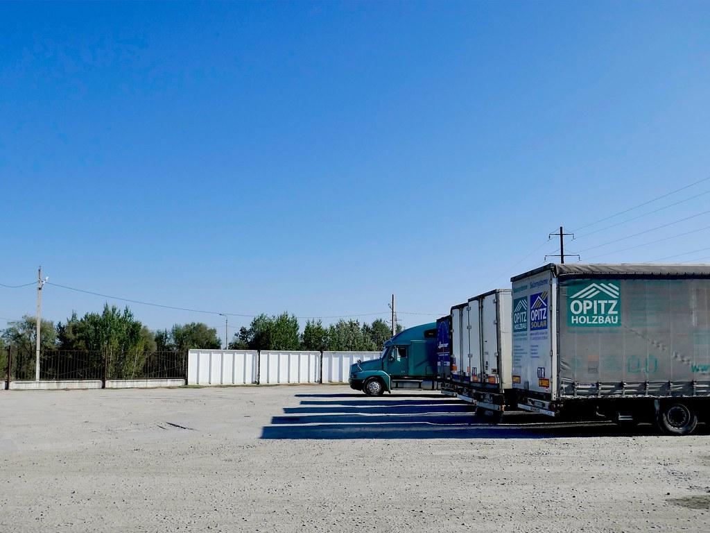 фото: green truck,sunny sky and shadows on earth