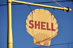 1929 Shell Station - Salem, NC (Laurence's Pictures) Tags: winston salem north carolina nc historic tourist tourism things see village 1800s roadside america americana attraction shell oil gas petrol petroleum pectin shelloilcompany station service sign yellow logo gasoline 1920s