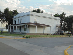 76. An old hotel in Fowler, in NE Meade County, 7-27-19 (leverich1991) Tags: exploring kansas 2019 fowler meade swimming pool jail