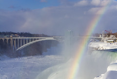 Rainbow Bridge - Niagara Falls (Notkalvin) Tags: niagarafalls niagara niagarariver rainbow bridge rainbowbridge mikekline notkalvin outdoors mist cold frozen winter ontario canada newyork cataracts trouism traveldestination internationalborder famousplace nopeople nature colorful roygbiv