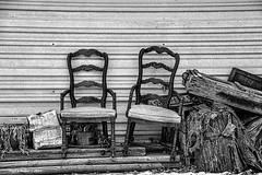 Lonely Conversations       ....HBM! (jackalope22) Tags: hbm chairs bench monday bw mono conversatons
