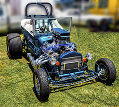 Blue T bucket hot rod. (sunluva) Tags: car tbucket hotrod carshow blue v8