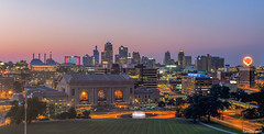 Kansas City Skyline Panorama, Missouri, Summer 2019 (fandarwin) Tags: kansas city skyline panorama blue hour missouri sunset liberty memorial national ww1 museum darwin fan fandarwin olympus omd em10