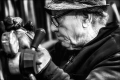 La retraite, quelle retraite? /  Retirement, which retirement? (vedebe) Tags: travail work artisan ferronnier portraits humain human people homme chapeau hat noiretblanc netb nb bw monochrome