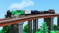 LEGO L1 on the viaduct (Britishbricks) Tags: lego lner engine steam loco train l1 small goods viaduct moc wagons brakevan milk tank custom britishbricks