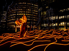Squiggle (Future-Echoes) Tags: 2020 canarywharf glow lights london night project52 sculpture winterlights