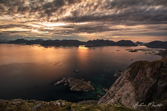 Festvågtinden Hike - Lofoten Islands (Norway) (Andrea Moscato) Tags: andreamoscato norvegia norge bokmål nynorsk north europe view vivid vista day light luce shadow ombre blue white red yellow cielo sky water sea reflection riflesso art artist clouds nature natura nuvole natural naturale fiordo fiord mountain montagna mare landscape deep path trail trekking hiking history historic panorama monument tourist attraction scogliera cliff rock stones air overlook island sun sunset dusk tramonto orange dark top