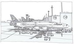 Germany, Frankfurt airport, waiting for our flight to Nagoya (pirlouit72) Tags: airport frankfurt aeroport francfort avions planes sketch drawing dessin croquis urbansketch urbansketcher urbansketchers carnetdevoyage