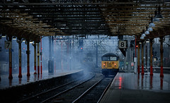 ...and with a puff of smoke it was gone (whosoever2) Tags: uk united kingdom gb great britain england nikon d7100 train railway railroad january 2020 crewe station cheshire colas class56 56049 0f55 nottingham exhaust clag