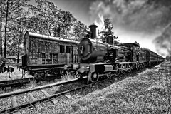 The train it's a comin'. (Ian Ramsay Photographics) Tags: thirlmere newsouthwales australia nswrailmuseum steamtrains locomotives engine chugging nostalgia smoke billowing monochrome smokestack smell fascination rural region schoolpast