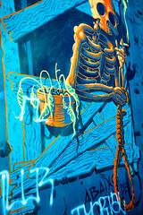 skeleton graffiti (khrawlings) Tags: graffiti art paint spray noose rope skeleton smoke bones blue orange potrugal lisbon
