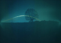 Pinhole Solargraph (camera_holic) Tags: solagraph solorgraph solar sun track tracking arc pin hole pinhole camera strongbow dark fruits tin can beer cider home made homemade diy kentmere vc select darkroom paper 7x5 5x7 loaded matt experiment experimental photography long exposure tree electricity pylon test 48 hour two day winter january low sunny