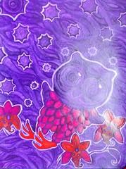 evening (lilotus32@ymail.com) Tags: art contemporaryart drawing painting creative creation picture watercolour искусство рисование творчество акварель рисунок картина owl orchid red purple stars сова орхидея красный фиолетовый
