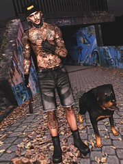 ☠ GOING IN BLIND - P.O.D (Shock Q'Kell) Tags: secondlife sl head mesh bento signature body gianni guy tattoo sltattoo sepeakeasy lepointe lapointebastchild boots tmd event rezzroom dog rottweiler hevo shorts hxnor mandala ears thebeardedguy backdrop vanity vanityevent skin shape bloggers slbloggers blogged bloggin blog moda slmoda photo slphoto picture slpicture male men man boy style fashion mainstore store
