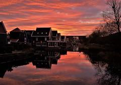 Red Dawn (Peter ( phonepics only) Eijkman) Tags: zaanstad zaandam zaan zaanstreekwaterland sun sunrise zon zonsopgang sky water canals grachten gracht nederland netherlands nederlandse noordholland holland