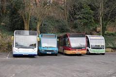 MM YJ65EVX, AMN 2535, TV YJ58CEX and LE HD14LAK @ Shrewsbury bus station (ianjpoole) Tags: ministerley motors optare metrocity v1080mc yj65evx arriva midlands solo yj11ohf 2535 tanat valley versa v1100 yj58cek lakeside ellesmere m925sr hd14lak shrewsbury bus station