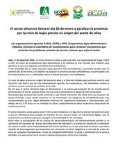 17 enero nota conjunta movilizaciones (M. Jalón) Tags: nota conjunta paralizar jaén coag olivareros movilizaciones olivar aceite