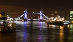 London at Night (saxman1597) Tags: london hmsbelfast riverthames england capitol towerbridge nikond3300 nikon1855vr nightshot tripod lights water