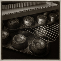 baking tins in the style of Jan Groover v.1 (Wendy:) Tags: stilllife kitchen old cookery caketins jangroover baking