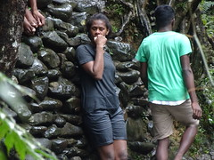 Shy and Strong (mikecogh) Tags: colisuva fiji forest waterfall shy strong rocks teenager