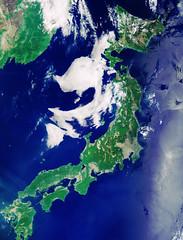 Japan, 24 May 2019 (sjrankin) Tags: 20january2020 edited esa europeanspaceagency ccbysa30igo japan pacificocean seaofjapan hokkaido honshu shikoku kyushu clouds russia china