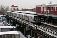Snow in the City (CrispyBassist) Tags: railroad railway train track transit subway elevated newyork newyorkcity newyorkcitysubway newyorkcitytransit nyc nyct nycta brooklyn jamaicaline