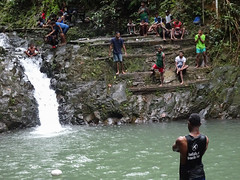 Natural Pool Gathering (mikecogh) Tags: colisuva fiji forest waterfall pool steps gathering football