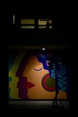 (David Ian Ross) Tags: new eve years 2020 2019 zoepower street art college town suffolk community mural lane danceeaststudio woman dark smoke window coffee light silhouette crossing foreshortened