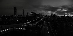 Waterloo Sunrise ... (Go placidly amidst the noise and haste...) Tags: london dawn panoramic pano mono blackandwhite blackwhite waterloo eastwaterloo westminster railway theshard cityscape dark street
