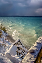 Damage Done (downstreamer) Tags: claycliffs contax28mmf28carlzeissbiogont lakemichigan leelanau conservancy snow stairs winter