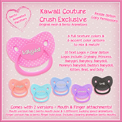 Pacifier Ads 2 (Kawaii Couture & Prefab-ulicious Full Perm) Tags: kawaii couture second life sl crush flair for events shopping event bento animated binky pacifier accessories cute baby girl
