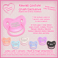 Pacifier Ads 3 (Kawaii Couture & Prefab-ulicious Full Perm) Tags: kawaii couture second life sl crush flair for events shopping event bento animated binky pacifier accessories cute baby girl