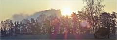 Der sich auflösende Lilienstein (Christoph Bieberstein) Tags: deutschland germany sachsen saxony 2020 januar january elbsandsteingebirge sächsische schweiz saxon switzerland weisig eulensteine ebenheit europa europe sandstein sandstone rocks felsen lilienstein sonnenaufgang sunrise sonne sun nebel mlha fog gegenlicht