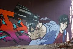 Nicky Larson @ Graffiti @ Pont de Drize @ Walk along the Drize river @ Carouge @ Geneva (*_*) Tags: january hiver winter 2020 europe switzerland geneva suisse lancy hiking walk marche hike carouge trail geneve suisseromande drize river riviere cityhunter gun sony rx100vii m7 nature graffiti mural
