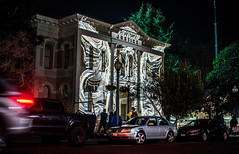 napa valley courthouse (pbo31) Tags: napalightedartfestival napa bayarea napacounty art night dark january 2020 boury pbo31 nikon d810 winter california color lightstream motion black projections justice courthouse chaos architecture structure