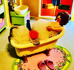 Relax in the bubbles (valeolligio) Tags: house sweet home 2020 friendship happyness happy peace love bathroom bath bubbles relax playfamily playing playmobil