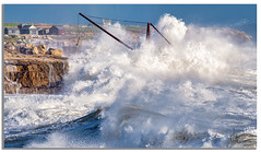 ''Red Crane'' (marcbryans) Tags: redcrane portlandbill dorset uk storm waves water exposed rock telephoto outdoors ocean seascape dramatic huts textures coast cranes nikkor200500mmf56e nikond500