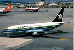 Saudia 737-200 (Martyn Cartledge / www.aspphotography.net) Tags: aero aeroplane air aircraft airfield airline airliner airplane airport aviation civil flight fly flying jet originalslide originaltransparency plane scan transport wings wwwaspphotographynet asp photography