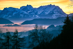 Säntis im Winter zur goldenen Stunde (martin.ostheimer) Tags: golden hour goldene stunde säntis winter natur nature landschaft landscape berg berge mountain mountains alpen alps cloud inversion inversionswetterlage