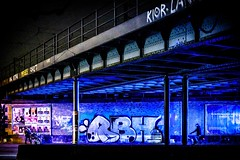 blue hour (blende9komma6) Tags: hannover südstadt germany night light street urban nacht nikon z6 bright licht bridge brücke city stadt blaue stunde hour blue colourful color farbe pepole graffiti art rbh kunst streetart