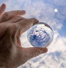 The Blue Marble (Emil de Jong - Kijklens) Tags: glazen bol earth moon clouds wolken hand kijklens astronomie sky astronomy hemel blue blauw