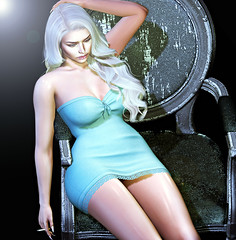 519 (dolceluna_myoo Photographer) Tags: amitie genus strong nutmeg poses dress cigarette chair color lights sl opted digitalart secondlife graphic picture woman girl blondie doux sensual life relax shadows avatar maitreya body mesh bento