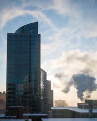 Downtown Minneapolis 1/20/20 (Sharon Mollerus) Tags: minneapolis morningsun sky architecture windows highrises smoke downtown mn c20